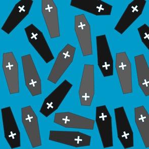 Funeral Caskets Grey on Blue