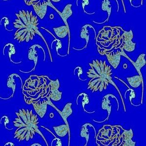 royal blue, mint, turquoise bats and flowers