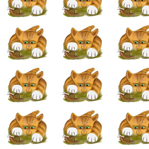 Orange_Tiger_Kitten_Finds_a_Snail_-_Spoonflower