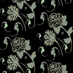 Black and lime lace flowers and bats