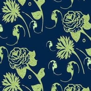 navy and lime, bats and flowers