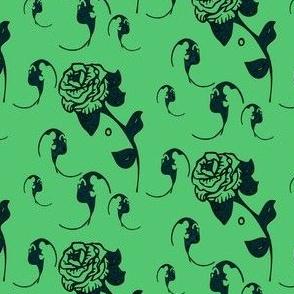 emerald bats and roses