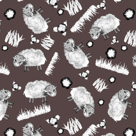 SOFT AS A CLOUD SHEEP Ditsy BW on Brown fabric by paysmage on Spoonflower - custom fabric