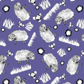 SOFT AS A CLOUD SHEEP Ditsy BW on Lilac Blue