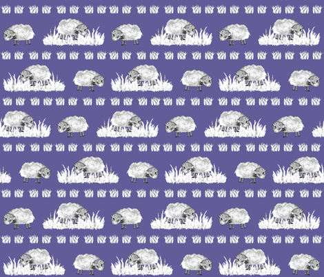 SOFT AS A CLOUD SHEEP Field BW on Lilac Blue fabric by paysmage on Spoonflower - custom fabric