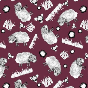 SOFT AS A CLOUD SHEEP Ditsy BW on Burgundy Red
