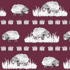SOFT AS A CLOUD SHEEP Field BW on Burgundy Red