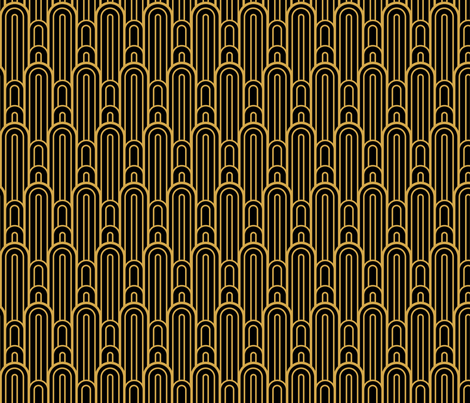 Art Deco Skyscraper Scallop, Black and Gold fabric by magentayellow on Spoonflower - custom fabric