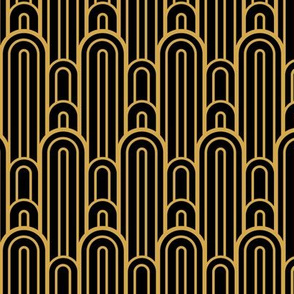 Art Deco Skyscraper Scallop, Black and Gold