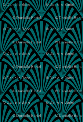 Art Deco Fans, Black and Teal