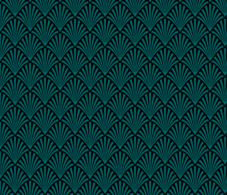 Art Deco Fans, Black and Teal fabric by magentayellow on Spoonflower - custom fabric