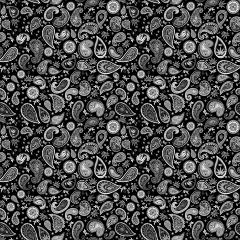 420 Hiphop Paisley White on Black (R) fabric by camomoto on Spoonflower - custom fabric