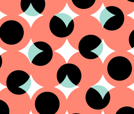 enormous halftone dots in coral, mint, black and white fabric by weavingmajor on Spoonflower - custom fabric