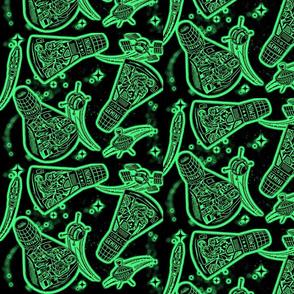 Retro Rockets glow  green