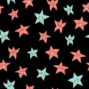 happy stars - mint and coral on black