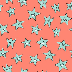 happy stars - mint on coral