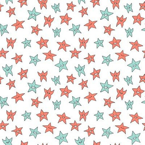 tiny happy stars - coral and mint on white
