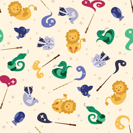 Baby Wizard Animals - Light fabric by robinskarbek on Spoonflower - custom fabric
