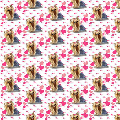 Yorkie Pink Hearts Small Print fabric by catialee on Spoonflower - custom fabric