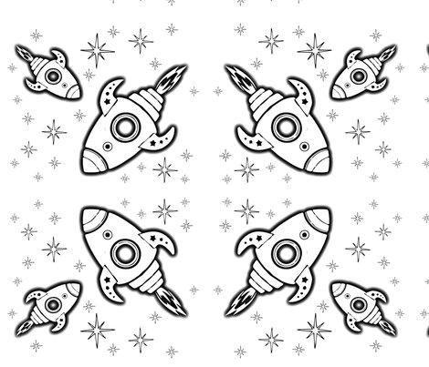 color your own rockets wallpaper kfrogb spoonflower