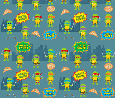 Pizza Loving Turtles fabric by collide_prints on Spoonflower - custom fabric