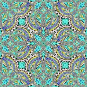 Fractal Ruffles and Leaves, Aqua