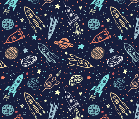 Space voyage fabric yuliussdesign com spoonflower for Space themed fabric