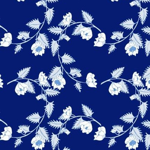 Chinoiserie Dark Blue Vine Flowers