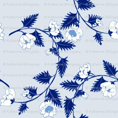 Chinoiserie Pale Blue Vine Flowers