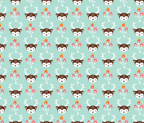 Adorable little blossom deer baby nursery illustration and kids fashion print fabric by littlesmilemakers on Spoonflower - custom fabric
