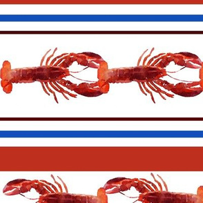 Line of Watercolor Lobsters with Red & Blue Stripe