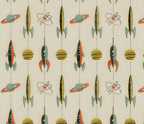 Retro rockets fabric by mumbojumbo on Spoonflower - custom fabric