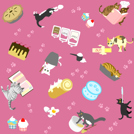 Cats Baking Cakes on Mauve fabric by ninniku on Spoonflower - custom fabric