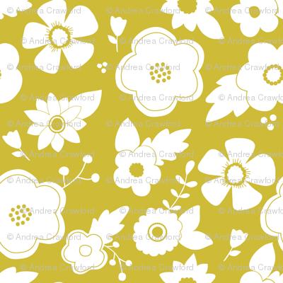 White flowers on goldenrod