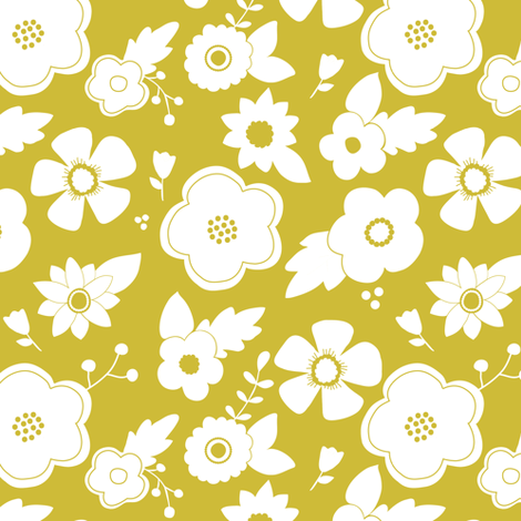 White flowers on goldenrod fabric by mintpeony on Spoonflower - custom fabric