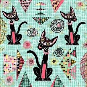 Geometric Cubist Hep Cats large scale, mint green turquoise aqua