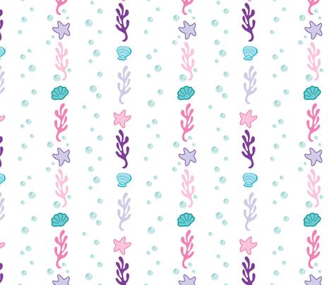 Sparkling Sea Shells and Stars fabric by tsai-fi on Spoonflower - custom fabric