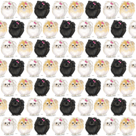 Pomeranians white Small Print fabric by catialee on Spoonflower - custom fabric