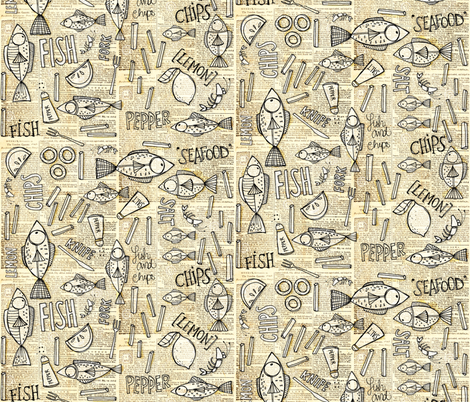 fish and chips fabric by mulberry_tree on Spoonflower - custom fabric
