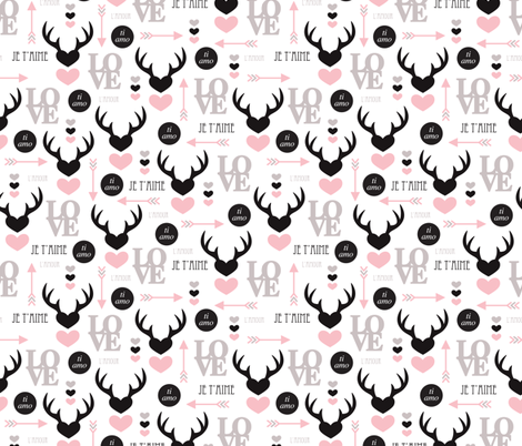 Oh deer valentine love illustration hearts and cupid arrow geometric pattern fabric by littlesmilemakers on Spoonflower - custom fabric