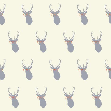 Smarty Pants Deer Small, Cream and Orange fabric by nicoleporter on Spoonflower - custom fabric