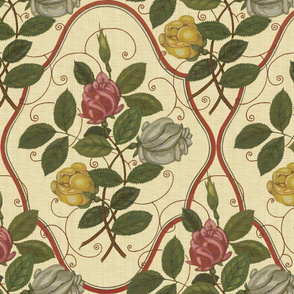 Victorian Rose Ogee ~ Trianon Cream Linen Luxe