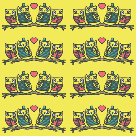 Owls in love fabric by simplefuzzies on Spoonflower - custom fabric