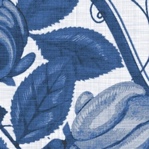 Victorian Rose Ogee ~ Blue and White Linen Luxe