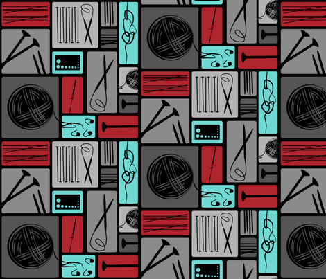 Ode to Knitting - Grey fabric by beckarahn on Spoonflower - custom fabric