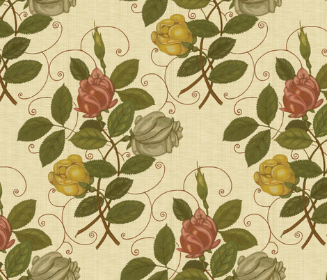 Victorian Roses ~ Trianon Cream Linen Luxe fabric by peacoquettedesigns on Spoonflower - custom fabric