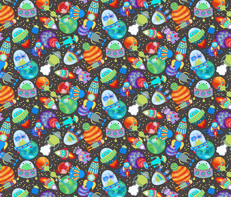 Rockets in space fabric beebumble spoonflower for Space pattern fabric