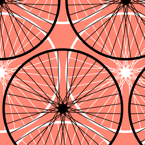03901605 : wheels : coral fabric by sef on Spoonflower - custom fabric