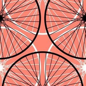 bicycle wheel silhouettes - coral