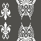 owl brocade in dark gray